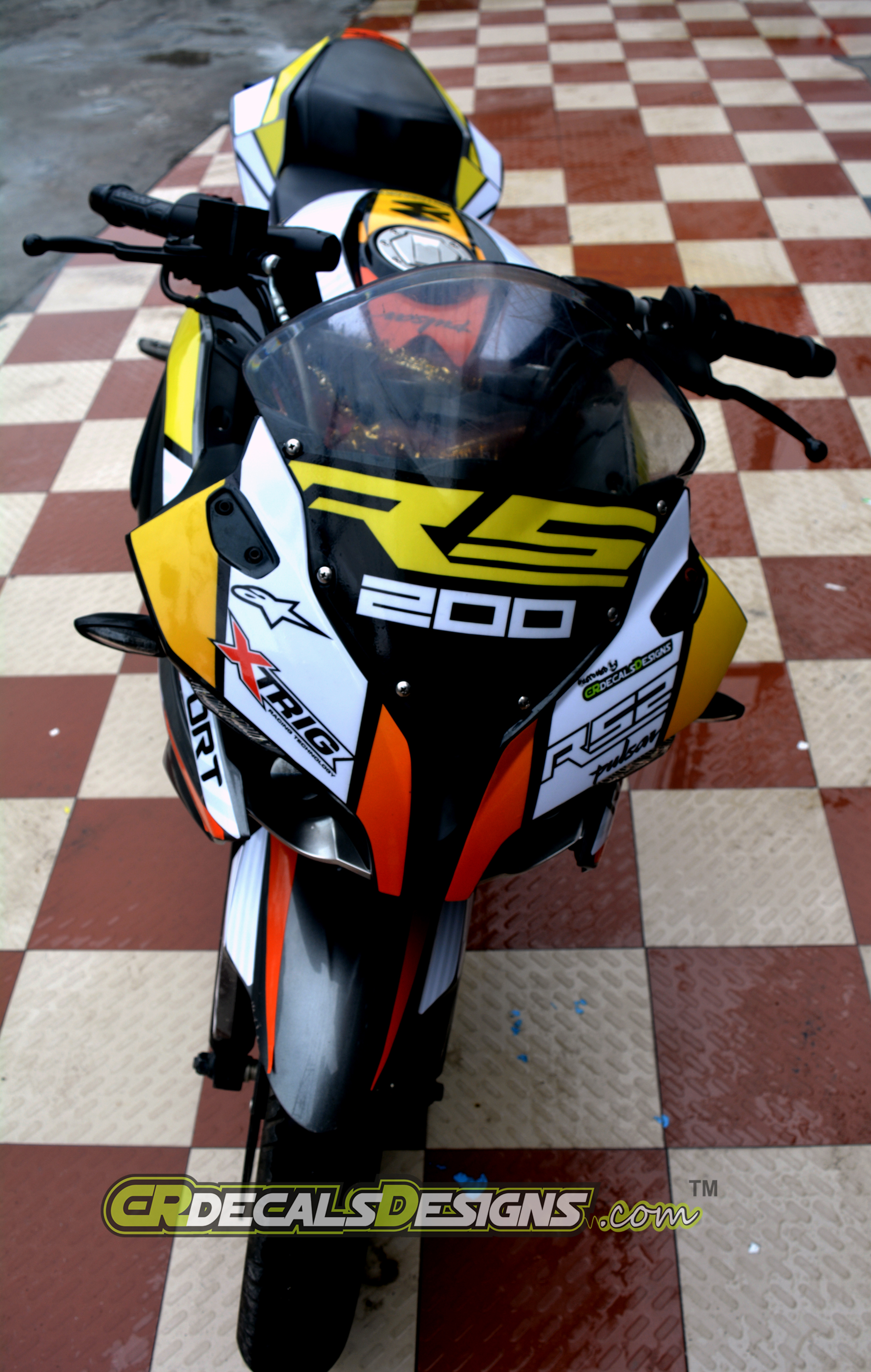 Pulsar rs 200 custom decals wrap stickers race kit 2