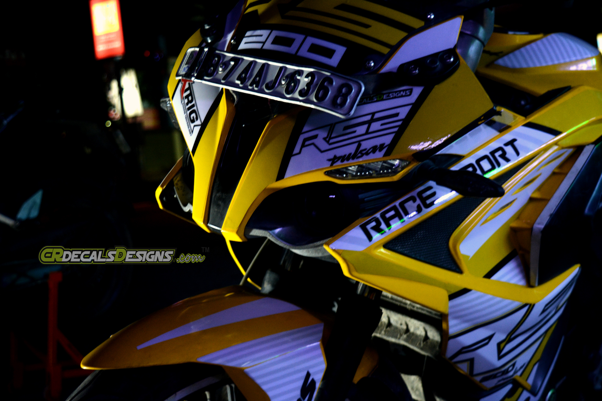 Pulsar rs 200 custom decals wrap stickers race kit yellow