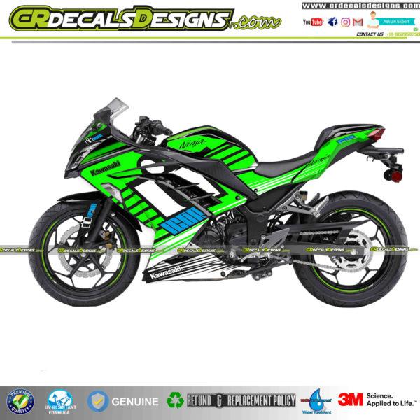 Kawasaki Ninja 300 Zx3r Custom Decals Wrap Stickers Icon Edition