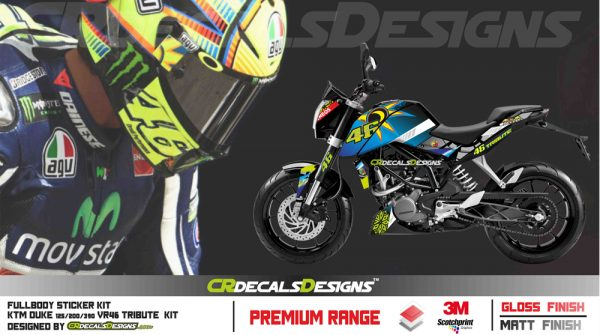 Ktm Duke 125200390 Custom Decals Wrap Stickers Vr 46 Tribute Edition Kit