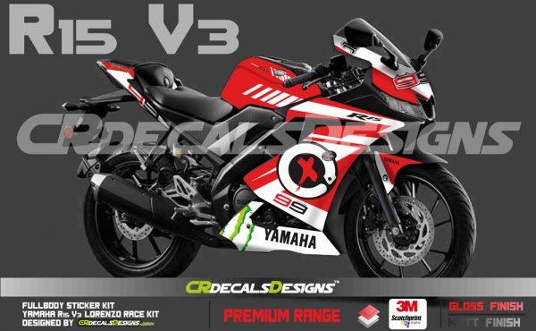 YAMAHA R15 v3 Custom Decals Wrap Stickers LORENZO RACE Edition Kit